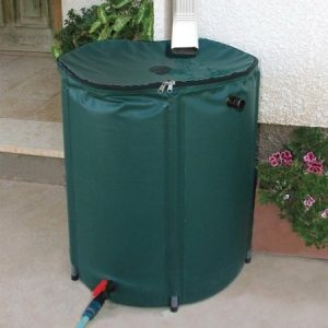 Collapsible 50-Gallon Rain Barrel with Zippered Top - Green