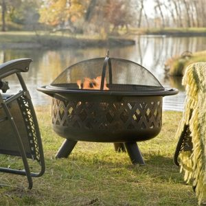 "36"" Bronze Fire Pit with Grill Grate and Spark Screen Cover"