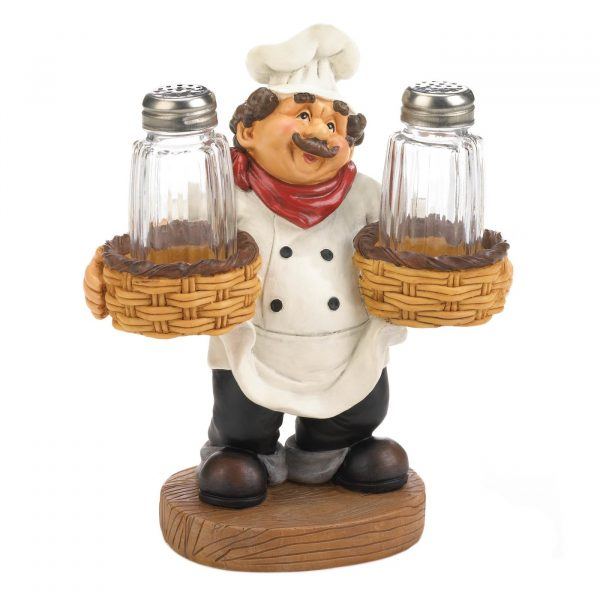 Chef Holder Salt & Pepper Shakers Set