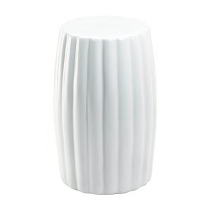 Glossy White Ceramic Stool